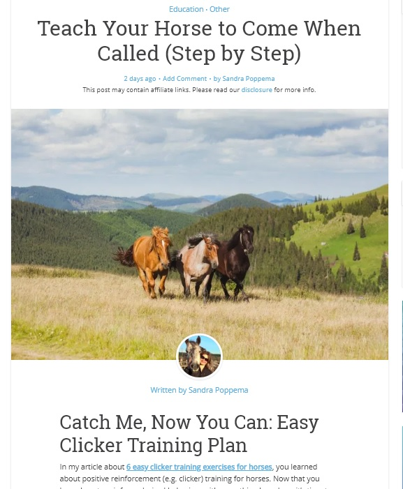 Sandra Poppema's article Teach Your Horse to Come When Called